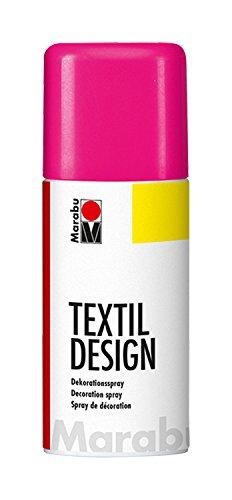 Marabu 17240006334 - Textil Design, Dekorationsspray auf Acrylbasis, schnell trocknend, wetterfest, lichtecht, bedingt waschbeständig, zum kreativen Gestalten auf Stoff, 150 ml Sprühdose, neon pink - Neon Pink Design