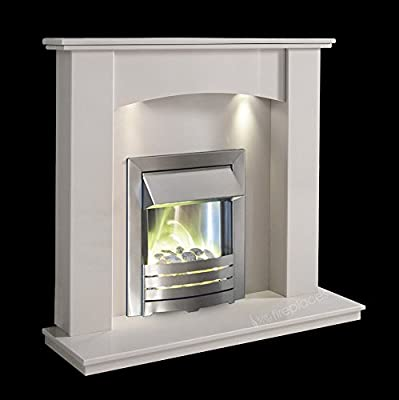 White Marble Stone Surround Modern Electric Fireplace Suite Brushed Silver Electric Fire Pebble Glow & Spotlights