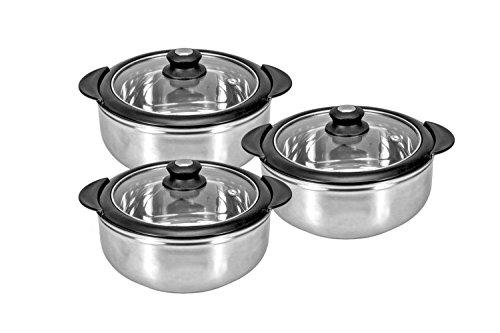 King International Stainless Steel Casserole Serving Pot | Hot Pot (Set of 3 Pieces)