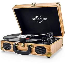 Viflykoo Tocadiscos de Vinilo, Tocadiscos Vintage Disco Vinilo LP 3 velocidades Reproductor de Discos Incorporado 2 Parlantes,Toma de Auriculares, USB, Entrada AUX, Salida RCA - Madera Natural