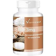 Bore Boron 3mg, tétraborate de sodium, vegan, oligo-élément naturel, sans stéarate de magnésium, Flacon avantageux pour 6 mois, os et articulations solides et bon système immunitaire