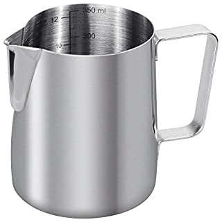 Anpro Stainless Steel Milk Jug, Milk Pitcher 350 ml / 12 fl.oz. for Milk Frothing Cappuccino and Latte, 9 x 7.5 cm - Silver, Stainless Steel, Silver, 350 ml