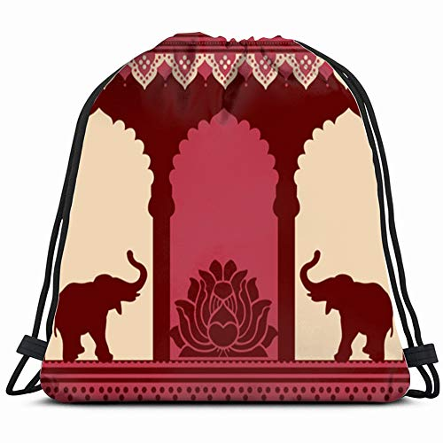 traditional indian temple design lotus elephants religion Drawstring Backpack Gym Sack Lightweight Bag Water Resistant Gym Backpack for Women&Men for Sports,Travelling,Hiking,Camping,Shopping Yoga Design Saree