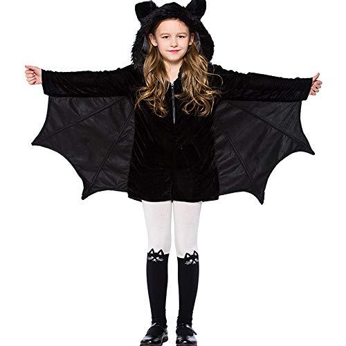 (DULEE Mädchen Halloween Cosplay Kostüm Halloween Party Schwarz Fledermausflügel Kapuzen Jumpsuit M)