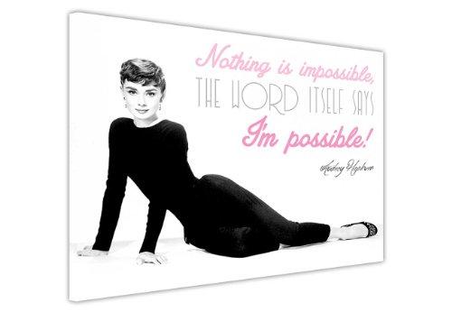 """Leinwand mit Audrey Hepburn Aufdruck und Zitat, Wanddekoration mit Hollywoodlegenden für Zuhause, canvas holz, 7- 30"""" X 20"""" (76CM X 50CM)"""