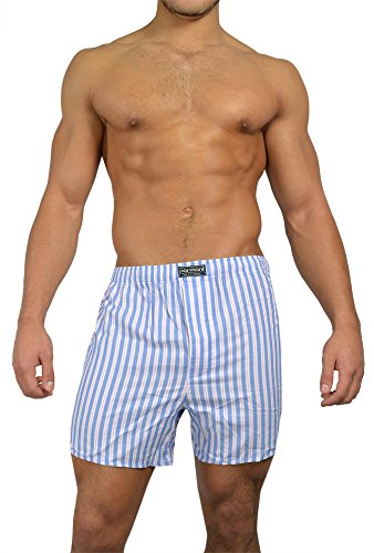 3 x Boxershorts aus reiner Baumwolle original normani® Exclusive Blau/Pink