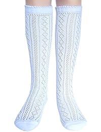 Las niñas de la escuela de la rodilla calcetines altos longitud completa Pointelle algodón rica (