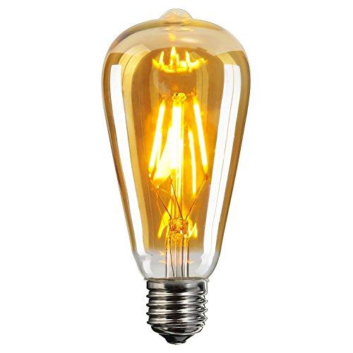 LED Ampoule Vintage Rétro, Elfeland Edison Lampe Antique Verre Ambre (E27 ST64 2200K ) équivalent 60W, Lumière Blanche Chaude Parfait pour la Nostalgie et L'éclairage Rétro