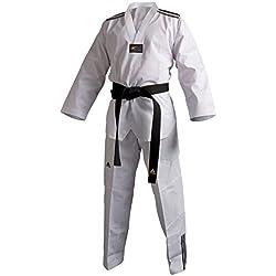 Dobok Taekwondo ADI-CLUB 3 col blanc bandes noires Adidas - 170 cm, Col blanc