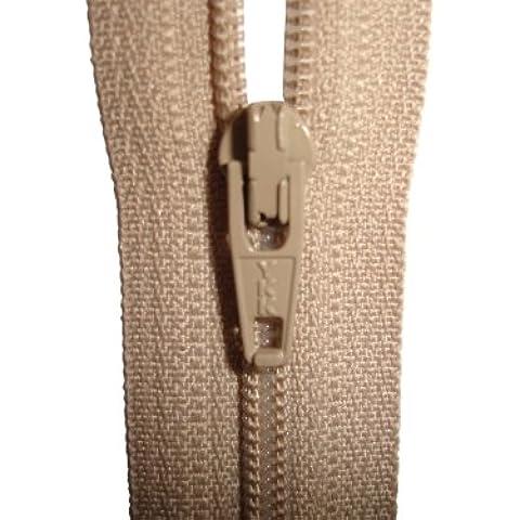 Estremità chiusa con zip–Beige–YKK–Cucito–Ideale per abiti/pantaloni/gonne/cuscini e arte e–Misure: 4/5/6/7/8/9/10/12/14/16/18/20/22/24/26/28/30/32/34/36