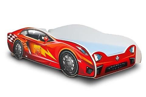 Autobett in zwei Farben mit Lattenrost und Matratze 80x180 cm Top Angebot! (Rot)
