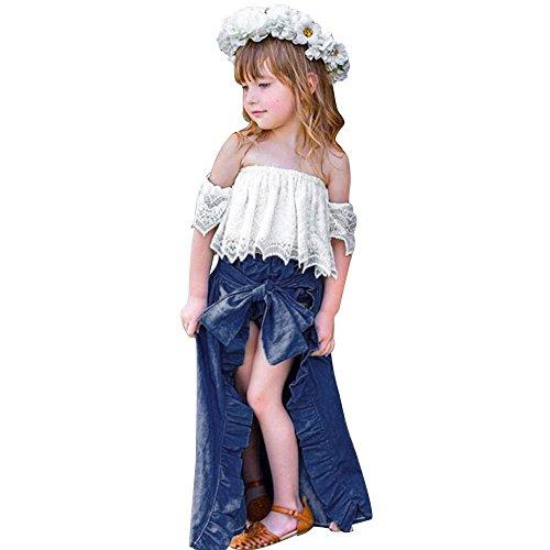 Mädchen Kleidung Outfits, Solide Rüschen Spitzen Tops Röcke Shorts Set Sommer Kinder Kleidung Set Overall Weiß 12 Mt-4 T (12M, Weiß) (Baby Verkleiden Outfits)