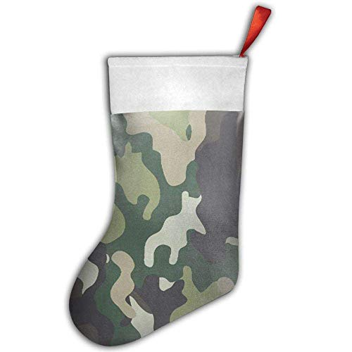quanzhouxuhuixiefu Army Military Camouflage Christmas Stocking,Craft Holiday Hanging Socks Ornaments Decorations Santa Stockings 50CM -