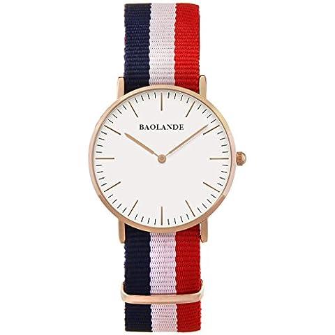 Alienwork Classic St.Mawes Reloj cuarzo elegante cuarzo moda diseño atemporal clásico Nylon oro rosa azul U04821L-02