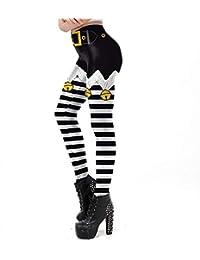 5c438d08448bf Femme Leggings de Noël Stripe Imprimer,Mince Taille Haute Crayon Pantalons  Bringbring