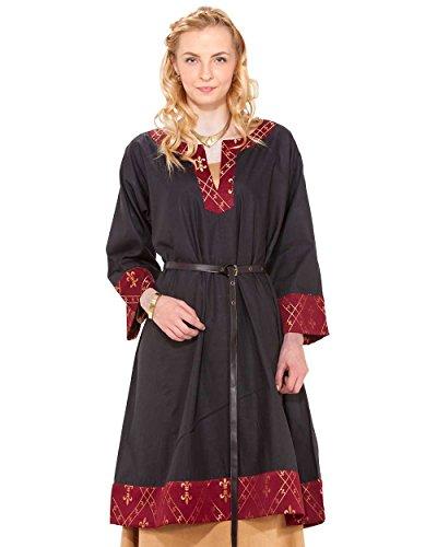 ThePirateDressing Hemd Mittelalterlicher Renaissance Piraten Wikinger LARP Damen Kostüm APPOLINE Griechisch Tunika Gr. 38, schwarz