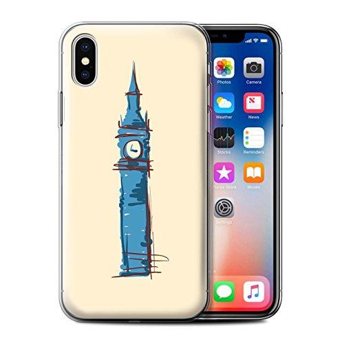 Stuff4 Gel TPU Hülle / Case für Apple iPhone X/10 / Freiheitsstatue Muster / Wahrzeichen Kollektion Big Ben / London