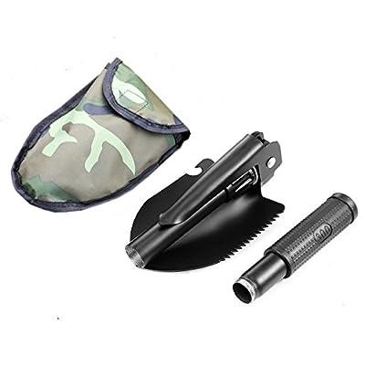 Yardsky Multifunktion Klappspaten Militär Schaufel mini Schaufel mit Tasche Folding Stahl mit Kompass Spitzhacke Flaschenöffner 6 in 1 für Outdoor Camping Survival und Jagd