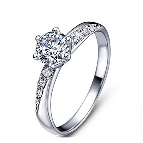 Qinlee Women Ring Elegant Fashion Flower Zircon Ring Wedding Jewelry For Lady Girls Birthday Gift