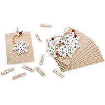 """10 braune Papiertütchen Papiertüten weiß gepunktet (9,5 x 14 cm), kleine Holzklammern + weißen Weihnachts-Anhängern """"Schneeflocke"""" aus Holz; perfekt als Verpackung zum Wichteln"""