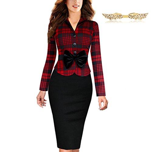 BYD Mujeres Vestidos a Cuadros De Empalme Lápiz Manga Larga Ajustado Tulipán Traje de Trabajo Oficina Vestido Negocio Vestido