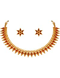 JFL - Traditional Ethnic One Gram Gold Plated Stones Designer Necklace Set With Stud Earring For Women & Girls.