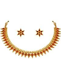 JFL - Traditional Ethnic One Gram Gold Plated Matt Gold Pink Stone Designer Necklace Set For Women And Girls