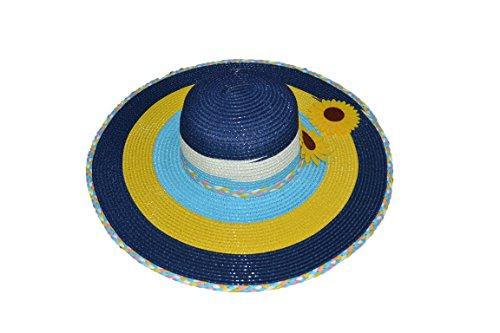 Pisco 'Summer Beach paille chapeaux avec large bord chapeau de soleil pour femme mixed-color & # nitrure ; 3 couleurs & # enduit ; bleu marine