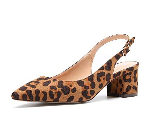 CASTAMERE Zapatos de tacón Clásicos Zapatos Mujer Tacón Fiesta Sandalias de Tacón Bajo para Mujer 5 CM Ante Leopardo EU 40.5