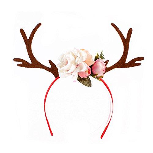 (Kicode Weihnachten Weiß Antlers Ohr-Stirnband Haar-Band Mit Blumen Geschenke Spielzeug Mädchen-Geburtstag)