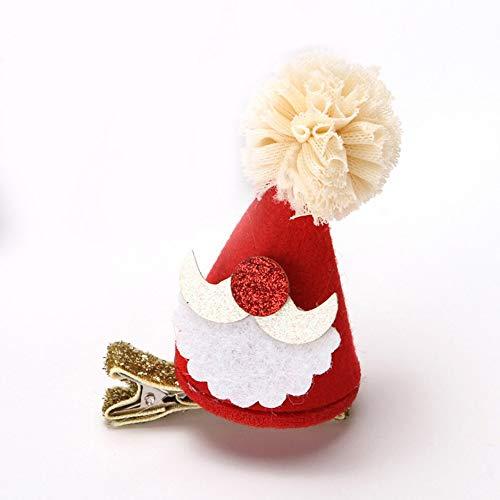 WEINANA Weihnachten Weihnachtsmann Mütze Hut Haarspange Kinder Baby Schöne Kopfbedeckung Haarspange Partydekorationen Haarnadel Zubehör