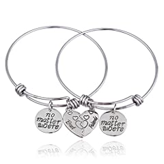 Idea Regalo - lauhonmin 2PCS BBF Best Friends espandibile Braccialetti Set Non Importa Dove Compass Split Cuore Spezzato Gift