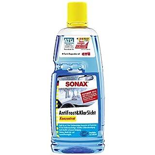 SONAX AntiFrost&KlarSicht Konzentrat (1 Liter) ergibt bis zu 3 Liter Winter-Scheibenwaschwasser, sofort mischbereit, schlierenfrei, Antikalk-Effekt   Art-Nr. 03323000