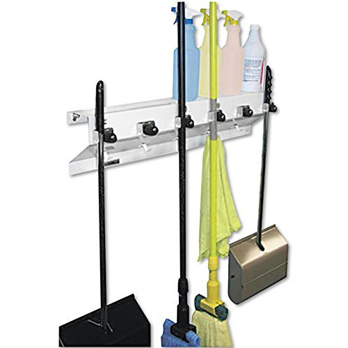 Ex-Cell The Clincher Mop and Broom Holder, 34 Width x 5.5 Depth x 7.5 Height Inches, White Gloss, Each (333-6WHT2) by Ex-Cell 6 Cell White Star