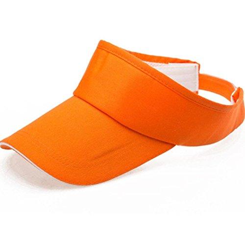 Unisex Flexible Sommer Hüte Sonnenhut Einheitsgröße,URSING Strandhut Headsweats Sonnenschild Sport Golf Tennis Visor Cap Baseballhut Sonnenblende Einfach Hut Kappe Mütze für Männer Frauen (Orange)