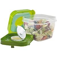 Fit & Fresh Couverts à salade Shaker récipient en plastique réutilisables avec distributeur de pansements et pack de glace, Sain Lunch Box Set, 4tasses Contenance, sans BPA,