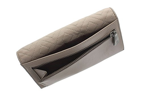 Visconti Quilt Diamond Collection borsa di cuoio QT80 Taupe / Borgogna Taupe/Burgundy