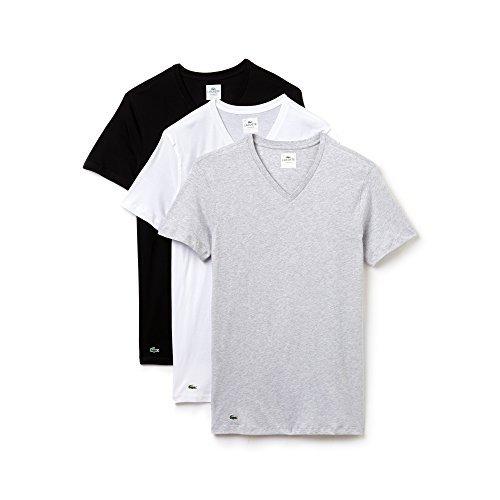 """LACOSTE 3er Pack Herren Unterhemden, """"American T-Shirts"""", V- oder Crew Neck, Supima Baumwolle Weiß/Schwarz/Grau (V-Neck)"""