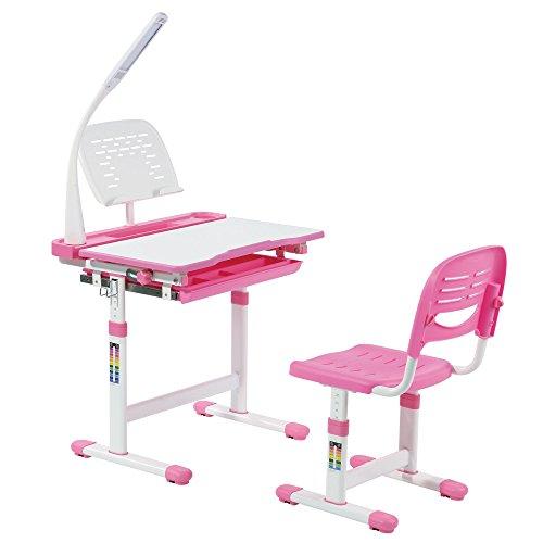 Scrivania per bambini con leggio in acciaio, lampada a led, altezza regolabile, scrivania sedia con cassetto gratuito cuscino tiger - midi rosa