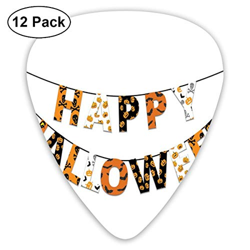 Celluloid Guitar Picks - 12 Pack,Abstract Art Colorful Designs,Happy Halloween Banner Greetings Pumpkins Skull Cross Bones Bats Pennant,For Bass Electric & Acoustic Guitars.