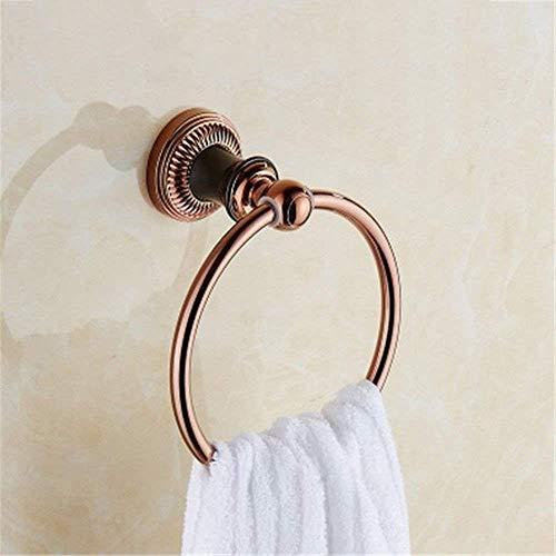 Willsego Schwarzes Gold Rose Gold Bad Handtuchhalter Bad Handtuchhalter Einzel- und Doppelständerhalterung Hardware-Kit (Farbe : Towel Ring) -