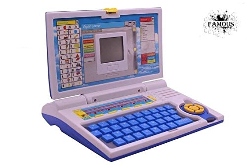 Famous Quality Kids Fun English Learner Educational Laptop for 20 Fun Activities Enhanced Skills of Children Premium Quality Kids Educational Purpose for Boy & Girls Best English Learner Laptop