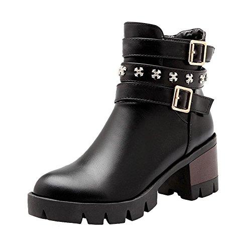 Mee Shoes Damen Reißverschluss runde Plateau chunky heels Ankle Boots Schwarz