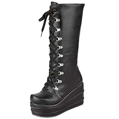 AIYOUMEI Damen Plateau Keilabsatz Halbschaft Stiefel mit Schnürung und 8cm Absatz Modern Winter Boots 834Dr