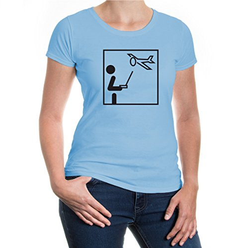 buXsbaum® Girlie T-Shirt Modellflugzeug-Piktogramm Skyblue-Black