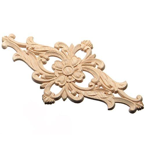 1 stück Holz Geschnitzte Ecke Onlay Applique Rahmen Decor Möbel Handwerk Unlackiert Blume 14x27 - Handwerk Holz-applique