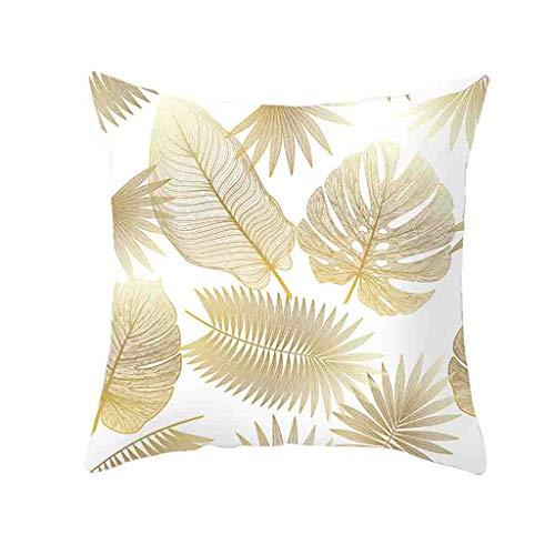 WUDUBE Gold Pflanzendruck Polyester Kissenbezug Sofakissenbezug Hauptdekoration 45cmx45cm