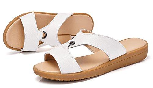 Frau Sommer beiläufige flache Sandalen und Pantoffeln mit einer Schrift Sandalen bonbonfarbenen Sandalen White