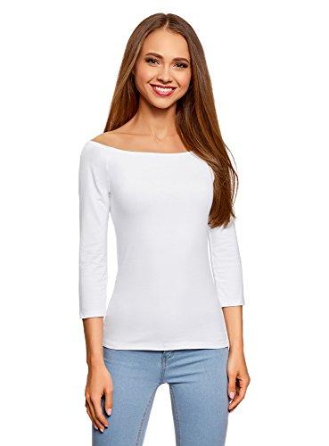 oodji Ultra Damen Tagless Schulterfreies T-Shirts mit 3/4-Arm, Weiß, DE 44/EU 44/XXL