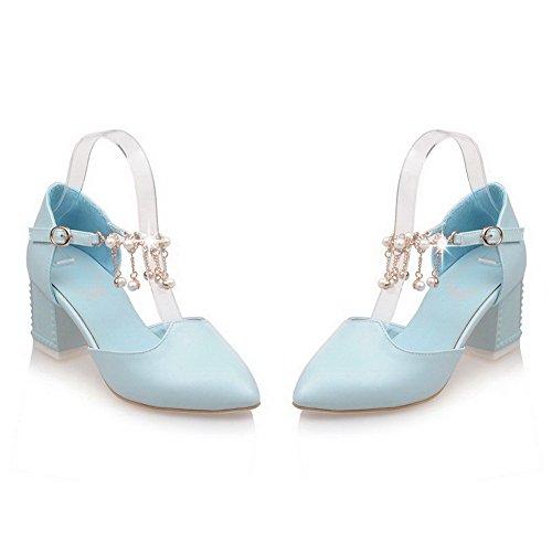 VogueZone009 Femme Mosaïque Matière Souple à Talon Correct Boucle Pointu Chaussures Légeres Bleu